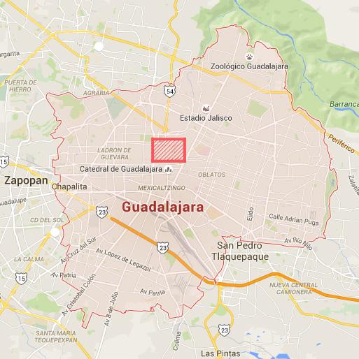 En rojo verás la zona que abarca la ruta (mapa de Google, 2015)